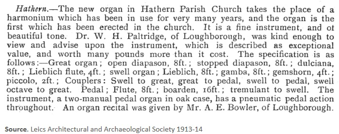 new organ in church 1913 14