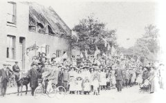 Celebration at the top of Wide Street of the Coronation of King George V and Queen Mary in 1911. Old Hathern in Pictures page 52