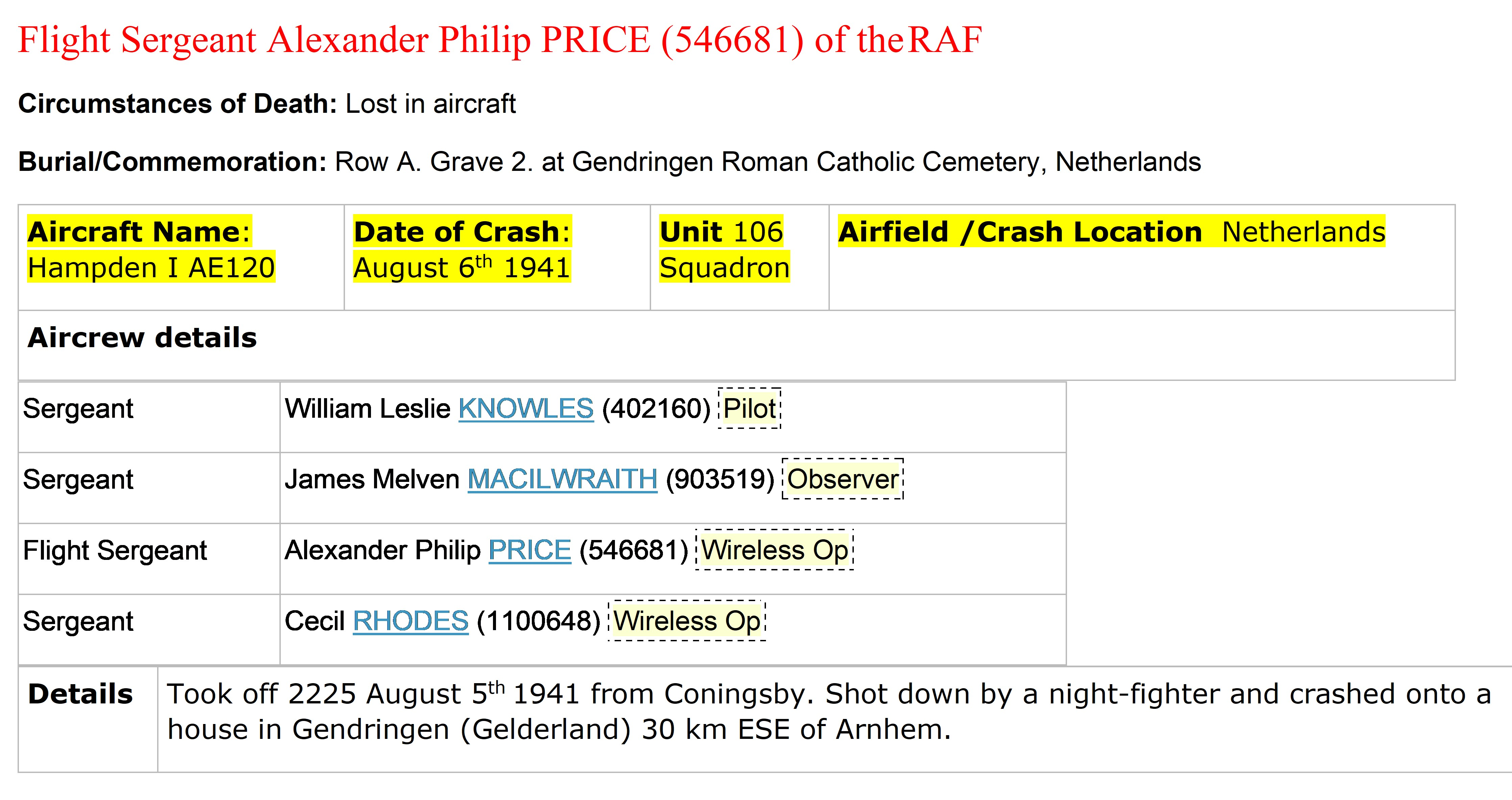 Flight report of crash in Holland. All four crew lost