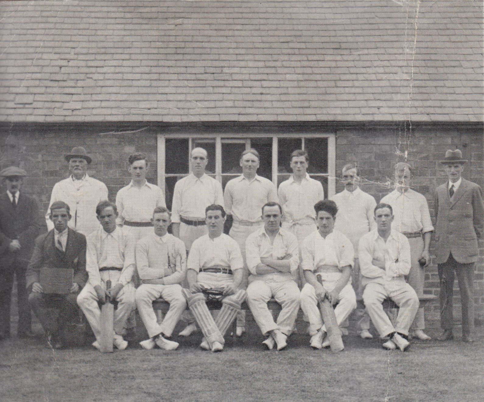Back row : Umpires A. Randon and J. Ratcliffe, T.H. Marson, H. Brown, R.G.Crofts, A.Dutton, E. Price(capt.) M.Watts, B. Fuller(vice-president). Seated : A. Spence, W.A.H. Hunt, S.H. Pilkington, A.Thompson, S.F. Simpkin, D.E. Thompson, and C. Mee.